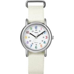 Timex Women's T2N8379J Weekender Slip-thru White Nylon Strap Watch