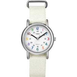 Timex Women's T2N837 Weekender Slip Thru White Nylon Strap Watch
