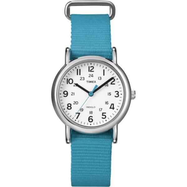 Timex Women's T2N8369J Weekender Slip-thru Blue Nylon Strap Watch 8969595