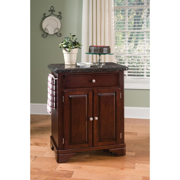 Home Styles Premium Cherry with Salmon Granite Top Cuisine Cart