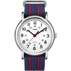 Timex Unisex T2N747 Weekender Slip Thru Blue/Red Stripe Nylon Strap Watch