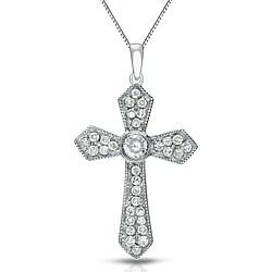 Auriya 14k White Gold 1/6ct TDW Cross Diamond Necklace (G-H, I1-I2)