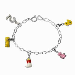 De Buman Sterling Silver Enamel Bear and Car Charm Bracelet