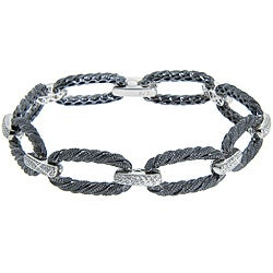 Eternally Haute Black Rhodium over Sterling Silver Cubic Zirconia Textured Link Bracelet