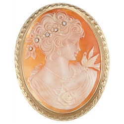 14k Gold Shell Cameo and 1/8ct TDW Diamond Estate Brooch (G-H, SI1-SI2)