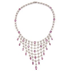 14k Gold Pink Sapphire and 3 1/3ct TDW Diamond Estate Necklace (I-J, SI1-SI2)