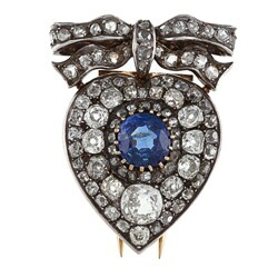 Silver/ Gold Sapphire and 4 1/2ct TDW Diamond 1800's Brooch (K-L, I1-I2)