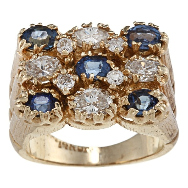 Pre-owned 18k Gold Sapphire and 1 2/5ct TDW Diamond Estate Ring (I-J, SI1-SI2)