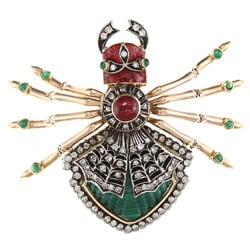 14k Gold Garnet, Emerald and 1 3/5ct TDW Diamond Art Deco Estate Brooch (I-J, VS1, VS2)