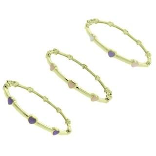 Molly and Emma 14k Gold Overlay Children's Enamel Heart Bangle Bracelet