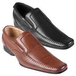 Boston Traveler Men's Stitching Detail Square Toe Slip-on Loafers