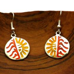 Colorful Hopi Design Alpaca Silver Earrings (Mexico)
