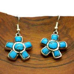 Turquoise Flower Alpaca Silver Earrings (Mexico)