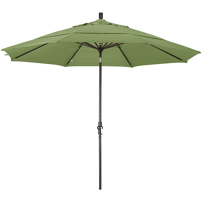 11-foot Fiberglass Pacifica Palm Green Crank/Tilt Umbrella
