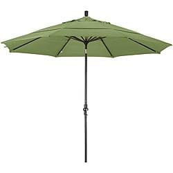 11-foot Fiberglass Pacifica Palm Green Crank/Tilt Umbrella