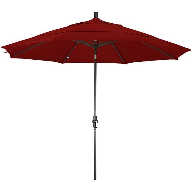 11-foot Fiberglass Pacifica Brick Red Crank/Tilt Umbrella