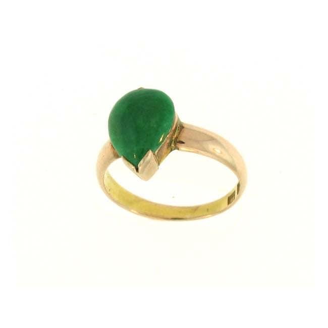 Mason Kay 14k Rose Gold Green Jadeite Pear-shaped Ring