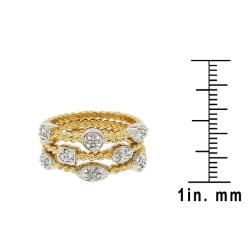 Sterling Silver 1/6ct TDW Round-cut Diamond 3-band Cable Ring (H-I, I2-I3)