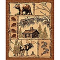 Lodge Design 362 Moose Bear Cabin Brown Area Rug (5' x 7')