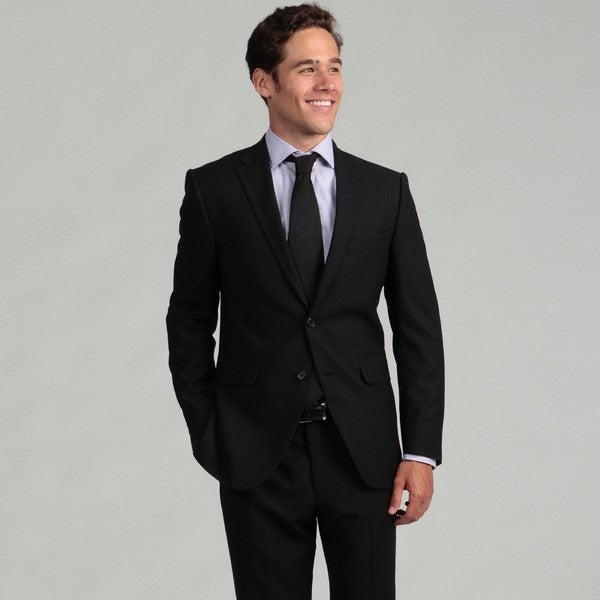 Hickey by Hickey Freeman Men's Black Shadow Stripe Worstered Wool 2-piece Suit