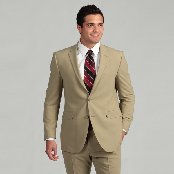 Hickey by Hickey Freeman Men's Tan Worstered Wool 2-piece Suit