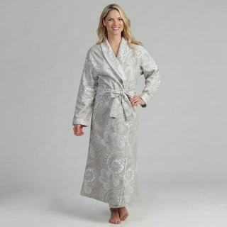 Dormisette Women's Grey/ White Paisley German Flannel Robe