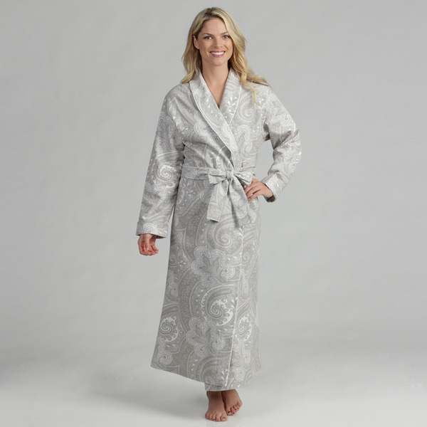 Dormisette Women's Grey/ White Paisley German Flannel Robe