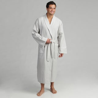 Dormisette Men's Grey/ White Pinstriped German Flannel Robe