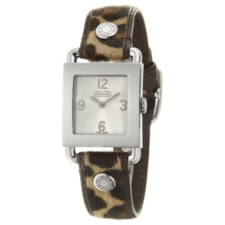 Coach Women's Legacy Harness Silver Dial Leather Haircalf Watch