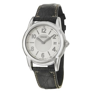 Coach Men's Carlyle Silver Dial Leather Watch