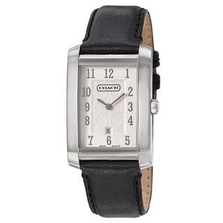 Coach Men's Movado Collection Silver Dial Leather Watch