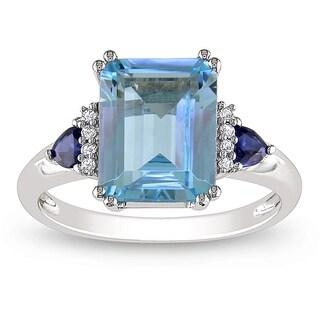 Miadora 14k White Gold Blue Topaz, Sapphire and Diamond Accent Cocktail Ring