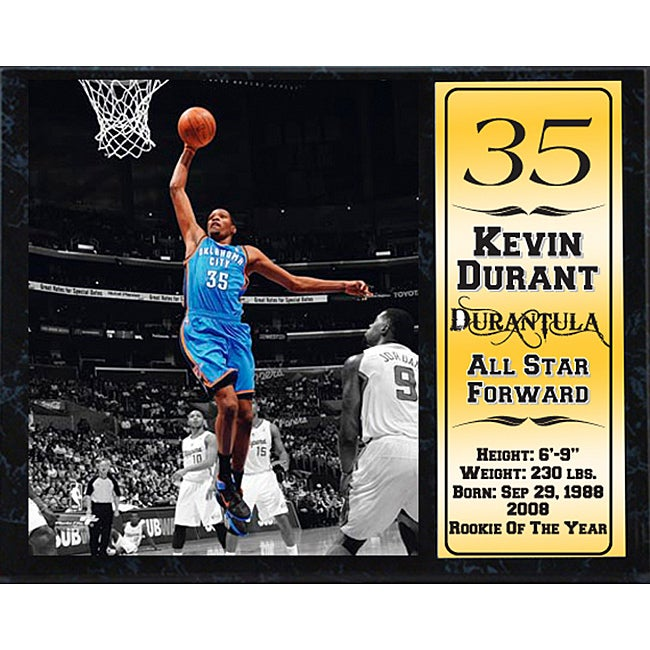 Oklahoma City Thunder Kevin Durant Black Wood Collectible Stat Plaque