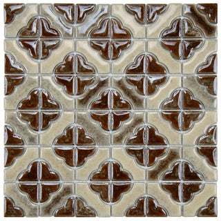 SomerTile 11.75x11.75-in Castle Henna Porcelain Mosaic Tiles (Pack of 10)