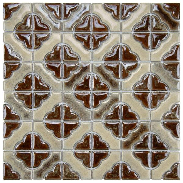 SomerTile 11.75x11.75-in Castle Henna Porcelain Mosaic Tiles (Pack of 10)