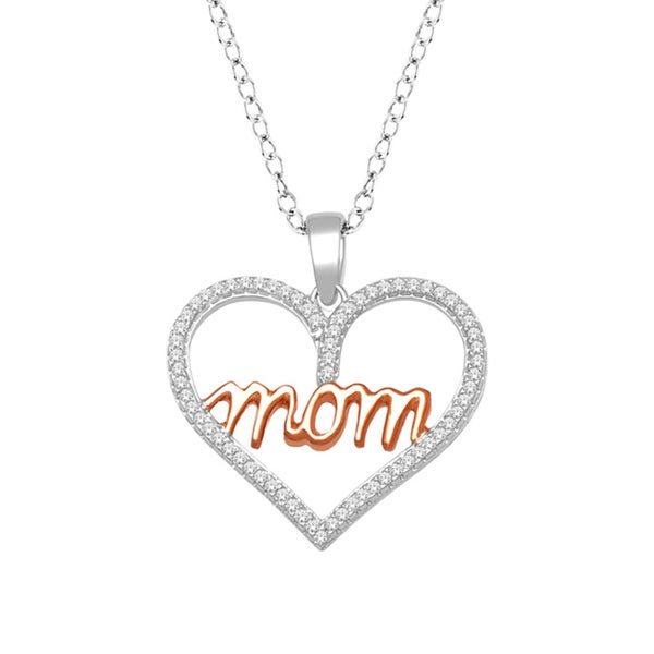 Sterling Silver 1/5ct TDW Diamond 'Mom' Necklace (H-I, I2)