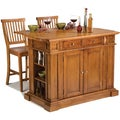 Distressed Oak Kitchen Island and Stools