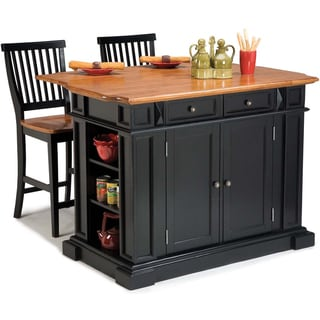 Black Distressed Oak Finish Kitchen Island and Barstools