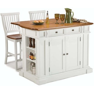 White Distressed Oak Kitchen Island and Bar Stools