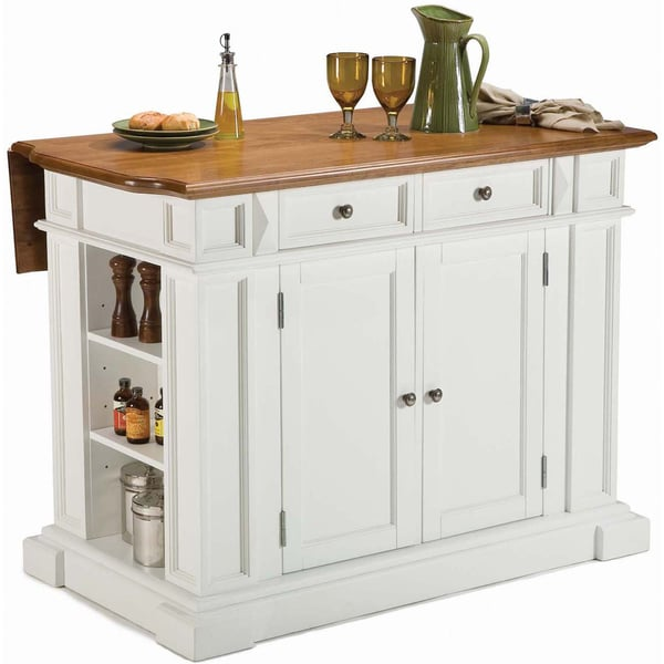 White Distressed Oak Kitchen Island