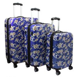 Navy Blue Tropical Flower 3-piece Lightweight Expandable Hardside Spinner Luggage Set