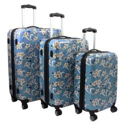 Sky Blue Tropical Flower 3-piece Lightweight Expandable Hardside Spinner Luggage Set