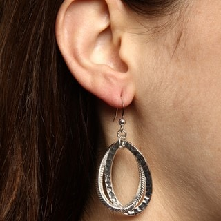 Alexa Starr Silvertone Textured Oval Dangle Earrings