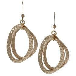 Alexa Starr Goldtone Textured Oval Dangle Earrings
