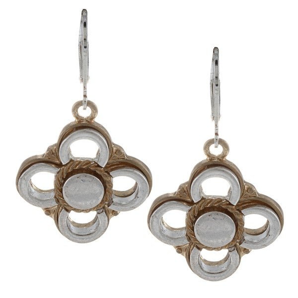 Alexa Starr Two-tone Flower Drop Earrings