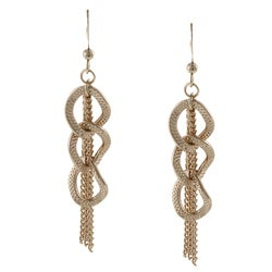 Alexa Starr Goldtone Woven Chain Link Tassel Earrings