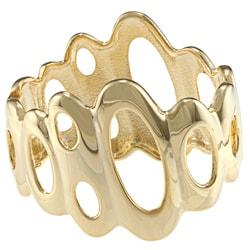 Alexa Starr Goldtone Open Oval Design Bangle Bracelet