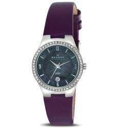 Skagen Women's Stainless Steel Plum Leather Strap Watch