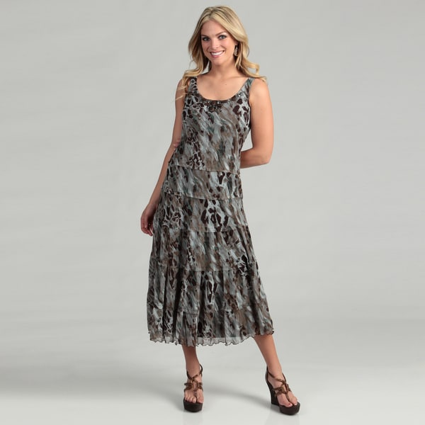 Jessica Howard Women's Brown/ Blue Abstract Jeweled Dress