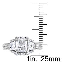 Miadora 14k White Gold 1 3/4ct TDW Cushion-cut Diamond Ring (G-H, I2-I3)